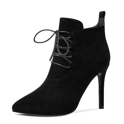ChixiaO Botas para Mujer de otoño e Invierno Europa y Estados Unidos Multa con Zapatos de