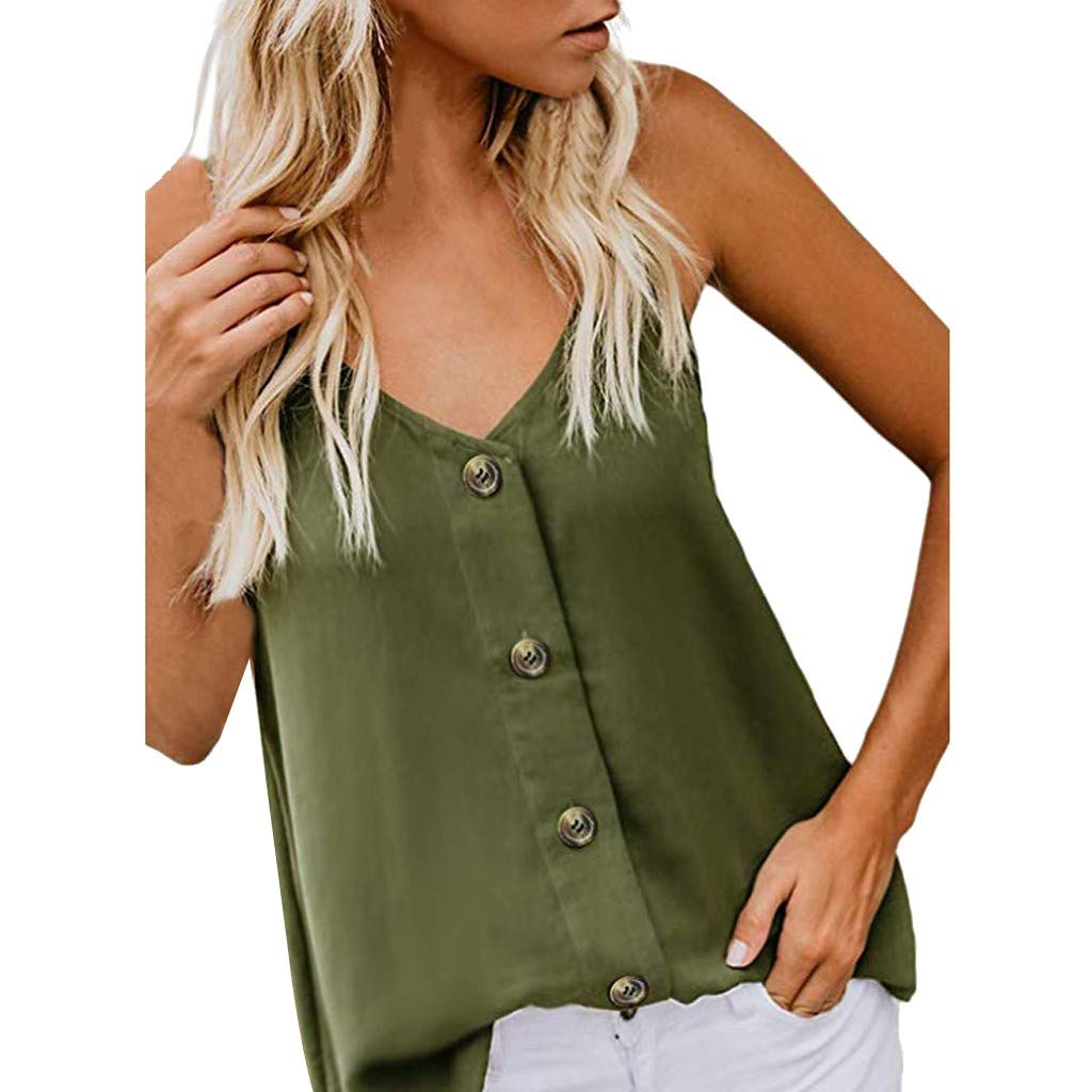 Dainzuy Women Tank Tops,Fashion Women's Casual Spaghetti Strap Button Front Tie Front V Neck Sleeveless Blouses Tank Tops Green