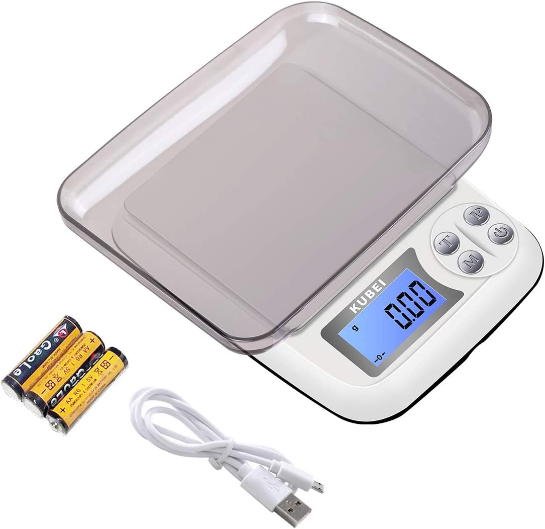 KUBEI Digital Kitchen Scale, 1kg/0.01g Food Scale, Mini Pocket Jewelry Scale,Food Scale Can set shutdown time, Cooking Scale with Tray