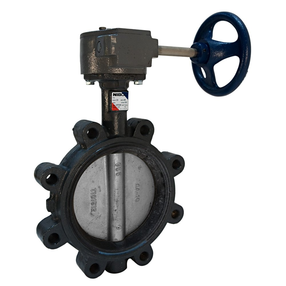 Gear Operator 10 NIBCO LD-3022-5 Series Ductile Iron Butterfly Valve with EPDM Liner and Stainless Steel Disc Lug