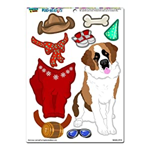 St Bernard Saint Dress-Up - Dog Pet Funny Novelty Gift Paper Doll Locker Refrigerator Vinyl Magnet Set