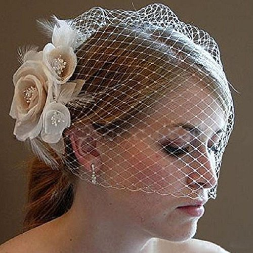 Kercisbeauty Bridal Lace Champagne Veil Drop Wedding Face Birdcage Veil with Hair Comb Wide Lace Veil Chapel Veil Single Layer Veil Wedding Hair Accessories with Rose Blossom Flower (Cathedral Bridal Rose)