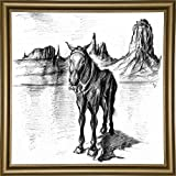 Frame USA Lonely Mule-PETPOT135187 Print 30''x30'' by Peter Potter in a Bistro Gold