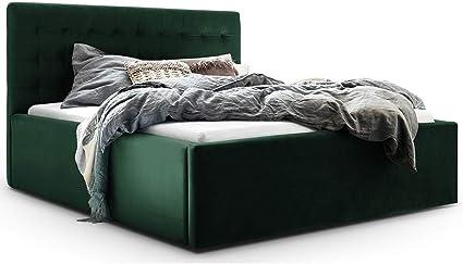 Cama con canapé de Terciopelo Molly XXL, Cama tapizada de diseño, somier de Doble Cama Macizo