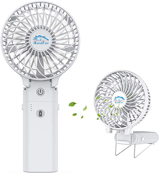 Mini USB Table Desk Personal Fan Handheld Fan Personal Portable Rechargeable USB Powered 3 Speed Cooling for Outdoor Home Office Travel Metal Design Quiet Operation USB Cable Fan