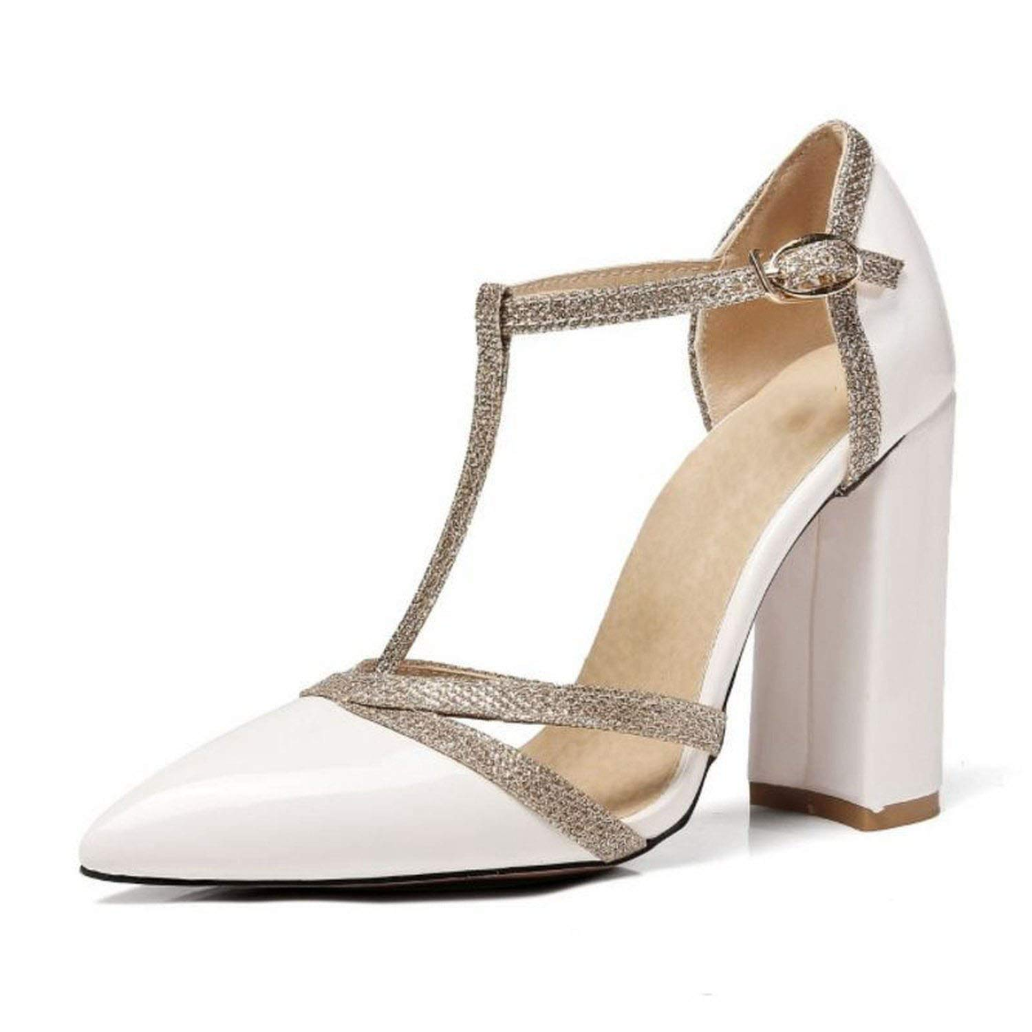 White shine-hearty Sexy Lady High Heel Sandals Women Ankle Strap Buckle Sandal Office Summer shoes Women Footwear