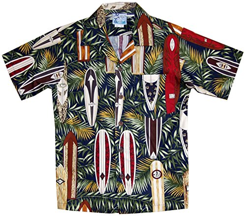 Surfboards Hawaiian Shirt (RJC Boy's Surfboard Galore Hawaiian Shirt Navy Blue 14)
