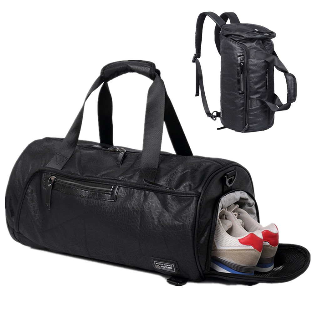 BLUBOON Gym Duffel Bag Sports Travel Backpack Weekender Overnight Tote Bag with Shoe Compartment (Black)