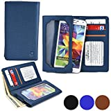 Cooper Cases(TM) Infinite Wallet Universal 5' Smartphone Case in Blue (PU Canvas Cover, Built-in Screen Protector, Card Slots, ID Holder, Billfold)