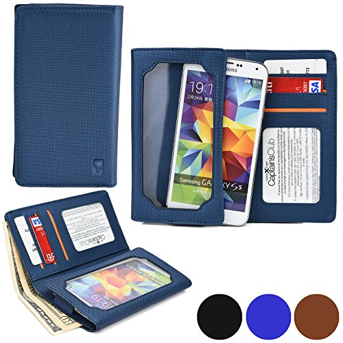 Cooper Cases(TM) Infinite Wallet BLU Life One (L120) / One M / One X / One (2015) Case in Blue (PU Canvas Cover, Built-in Screen Protector, Card Slots, ID Holder, Billfold)