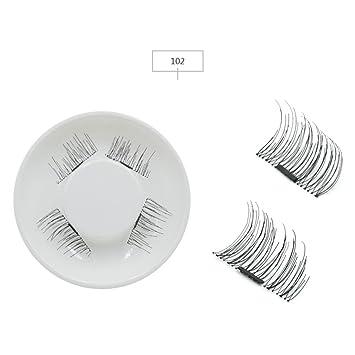 Amazon.com : 4Pcs/Set Handmade 3D Double Eyelashes On Magnets Natural No-Glue Fake Eye Lashes False Eyelash Extension 102 : Beauty