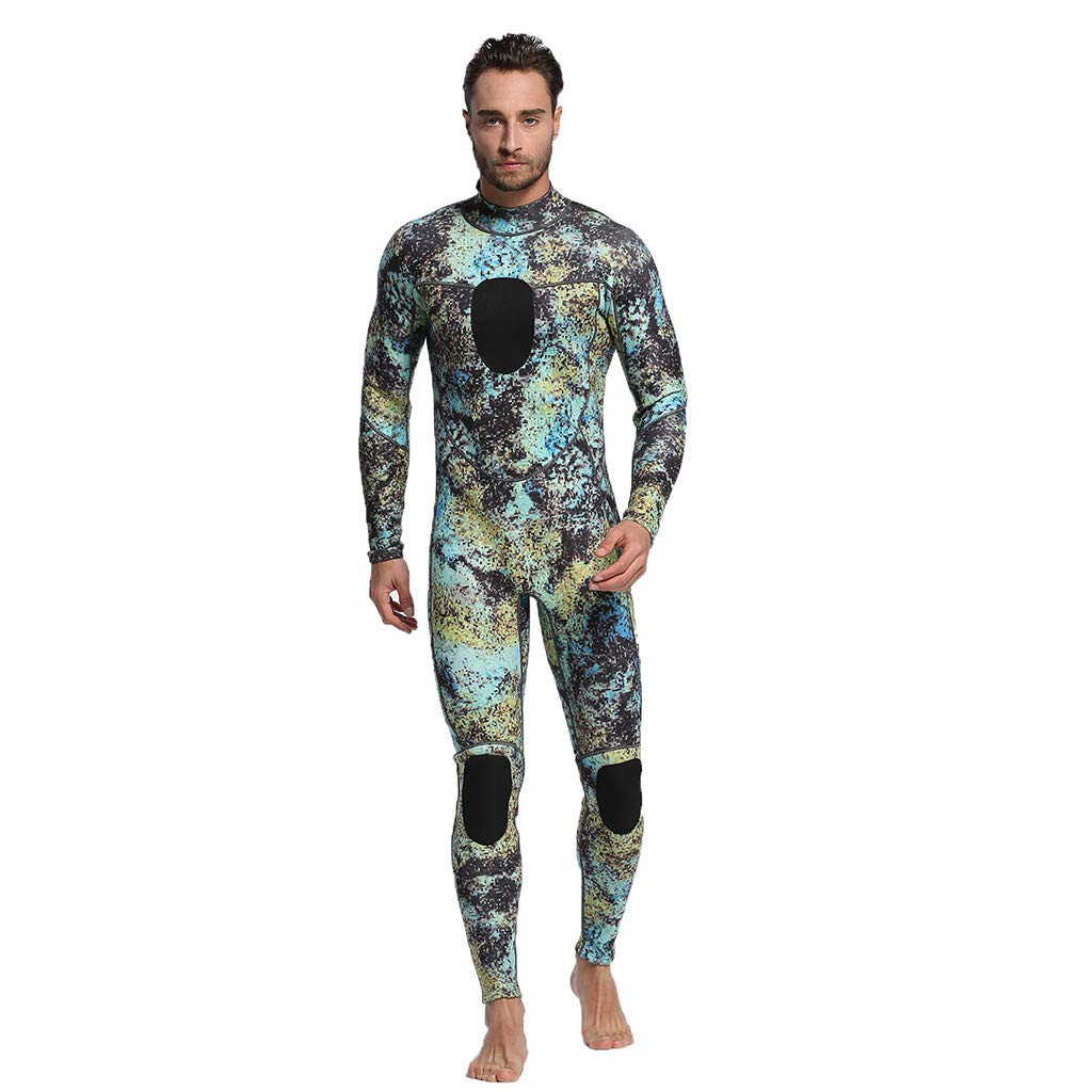 Seaintheson Women's Wetsuit,3MM Full Body Suit One Piece UV Protection Super Stretch Diving Suit Back Zip Full Wetsuit (Green, M)
