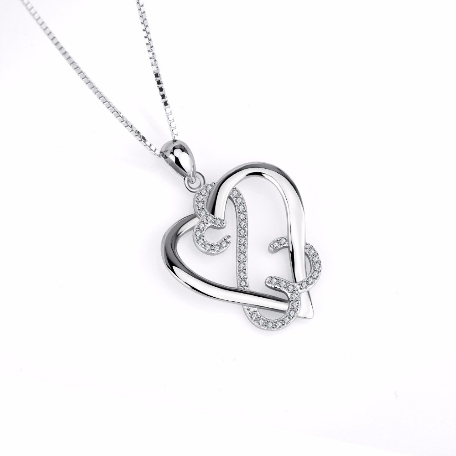 CS-DB Womens Necklaces by Silver Pendant Infinity Love Heart Crystal CZ Charm Girls