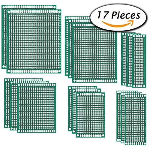 Paxcoo 17 Pcs Double Sided PCB Board Prototype Kit for DIY, 6 Sizes