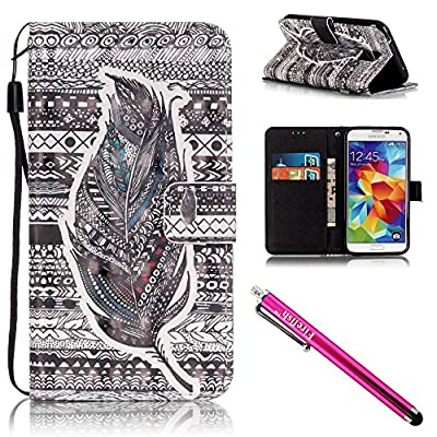Galaxy S5 Case, Galaxy S5 Wallet Case, Firefish [Kickstand] [Shock Absorbent] Double Protective Case Flip Folio Slim Magnetic Cover with Wrist Strap for Samsung Galaxy S5 i9600