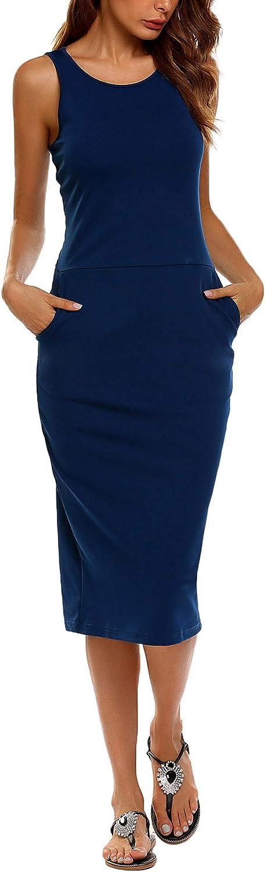 SE MIU Women Basic Scoop Neck Sleeveless Bodycon Tank Dress Pencil Dress