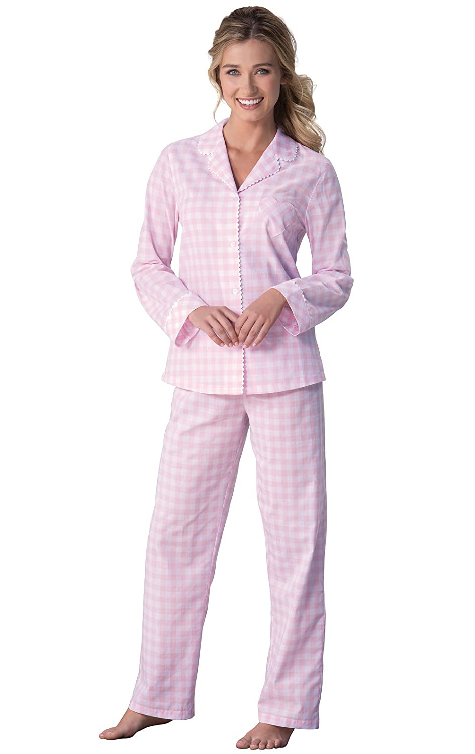5cbdc5525e65 PajamaGram Women s Pajama Set Cotton - Gingham Plaid Pajamas for Women at  Amazon Women s Clothing store
