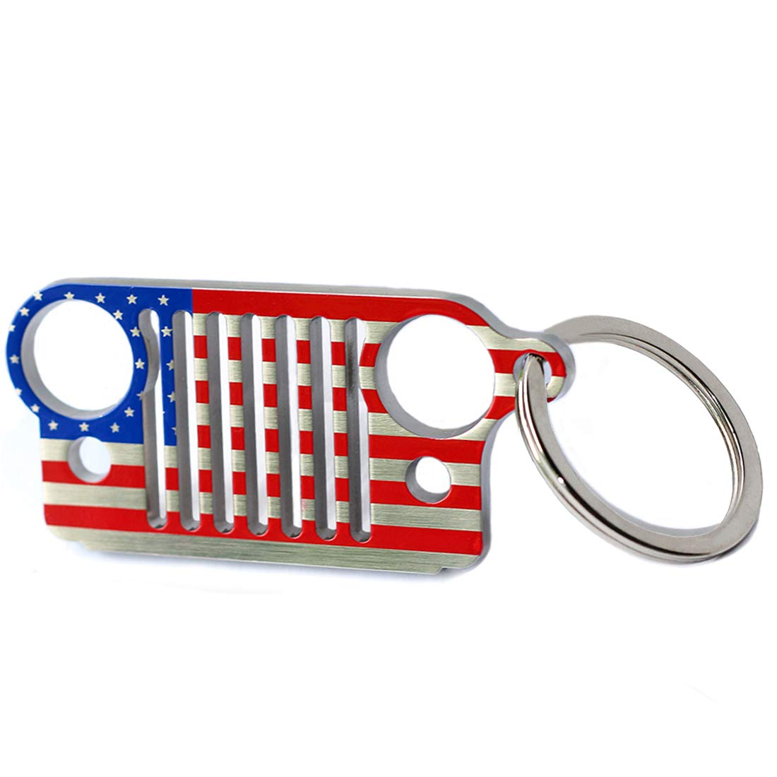 LROEZR 3D Font Grill Keychain Chain Key Ring for Jeep Driver Enthusiast Automotive Laser Cut 304 Stainless Steel Keyring National Flag