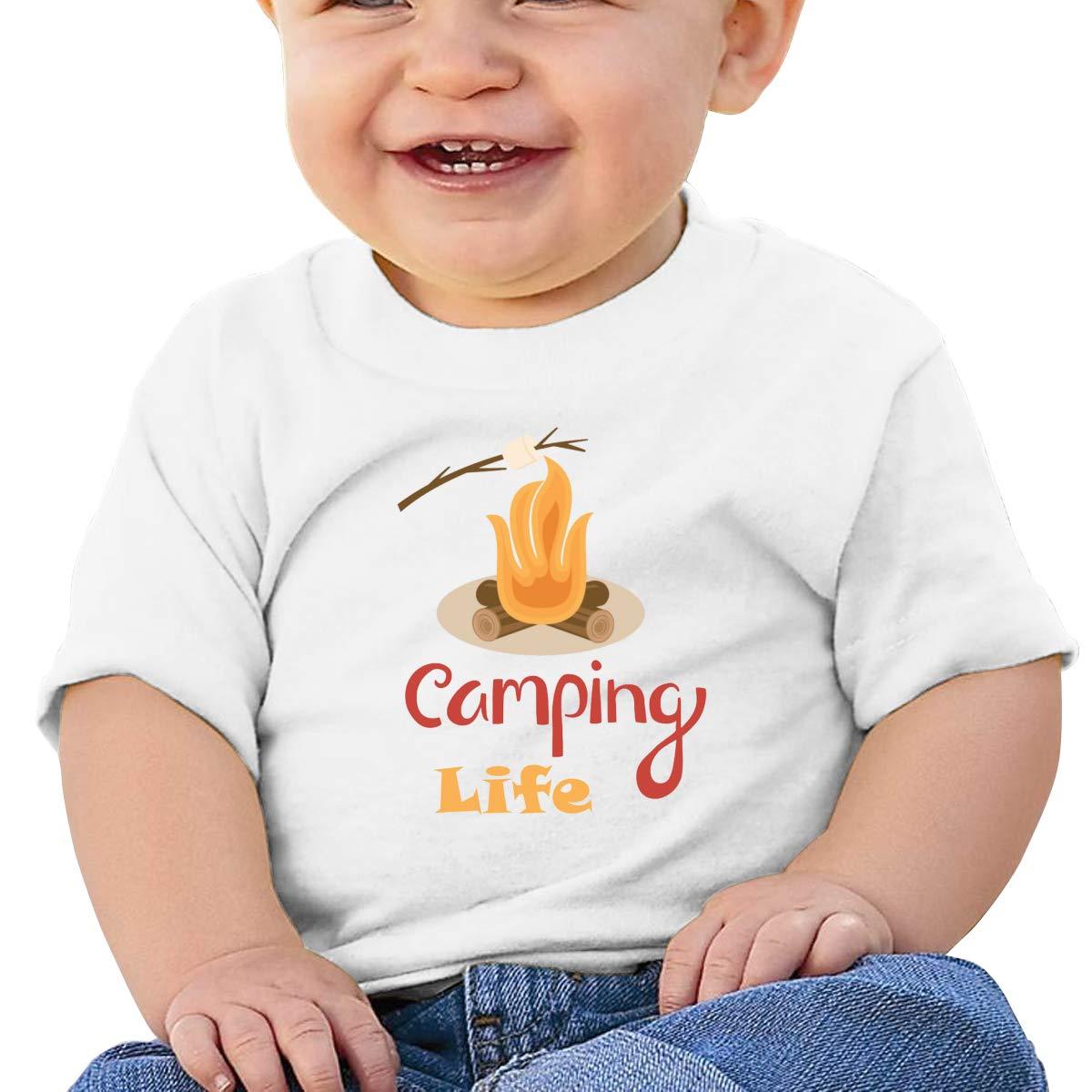 AiguanCamping Life Toddler//Infant Short Sleeve Cotton T Shirts White 47
