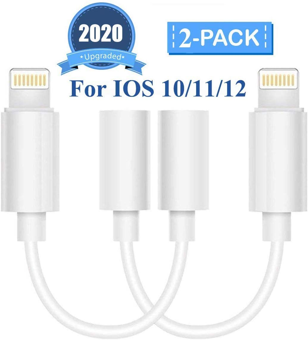 2 Pack 3.5mm Headphone Adapter for iPhone Adapter 3.5mm Jack Connector Converter Headset Cable Audio Splitter Compatible with iPhone7//7Plus//8//8 Plus//X//XR//XS MAX//11//11 pro//11 pro Max MFi Certified
