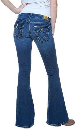 True Religion Mujer Jeans Flare Leg Raegan Oro Trim De Esqui Color Azul Azul 32 Amazon Es Ropa Y Accesorios