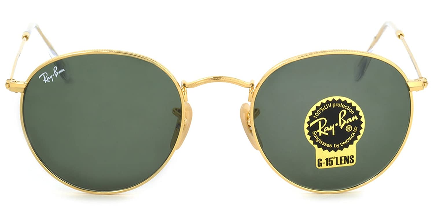 94ad4e81b53f5 Amazon.com  Ray-Ban RB3447 Authentic Round Metal Sunglasses. Color Gold (001)   Clothing