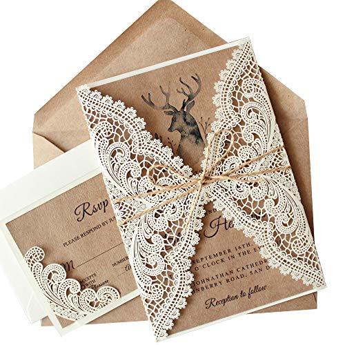 Picky Bride Rustic Vintage Lace Wedding Invitations with RSVP Cards and Envelopes, 1 Set Elegant Wedding Invitation Cards Sample