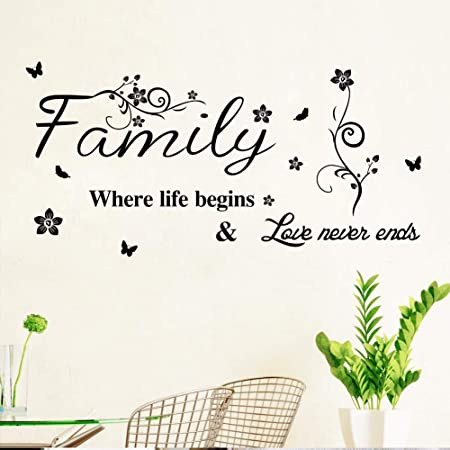 Amazon Com Diy Family Love Art Quotes Words Design Wall Decal Sticker With Butterfly Inspirational Saying Wallpaper Home Decor For Living Room Bedroom 16 1 39 5inch Arts Crafts Sewing