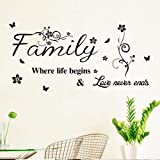 DIY Family Love Art Quotes Words Design Wall Decal Sticker with Butterfly, Inspirational Saying Wallpaper Home Decor for Livi