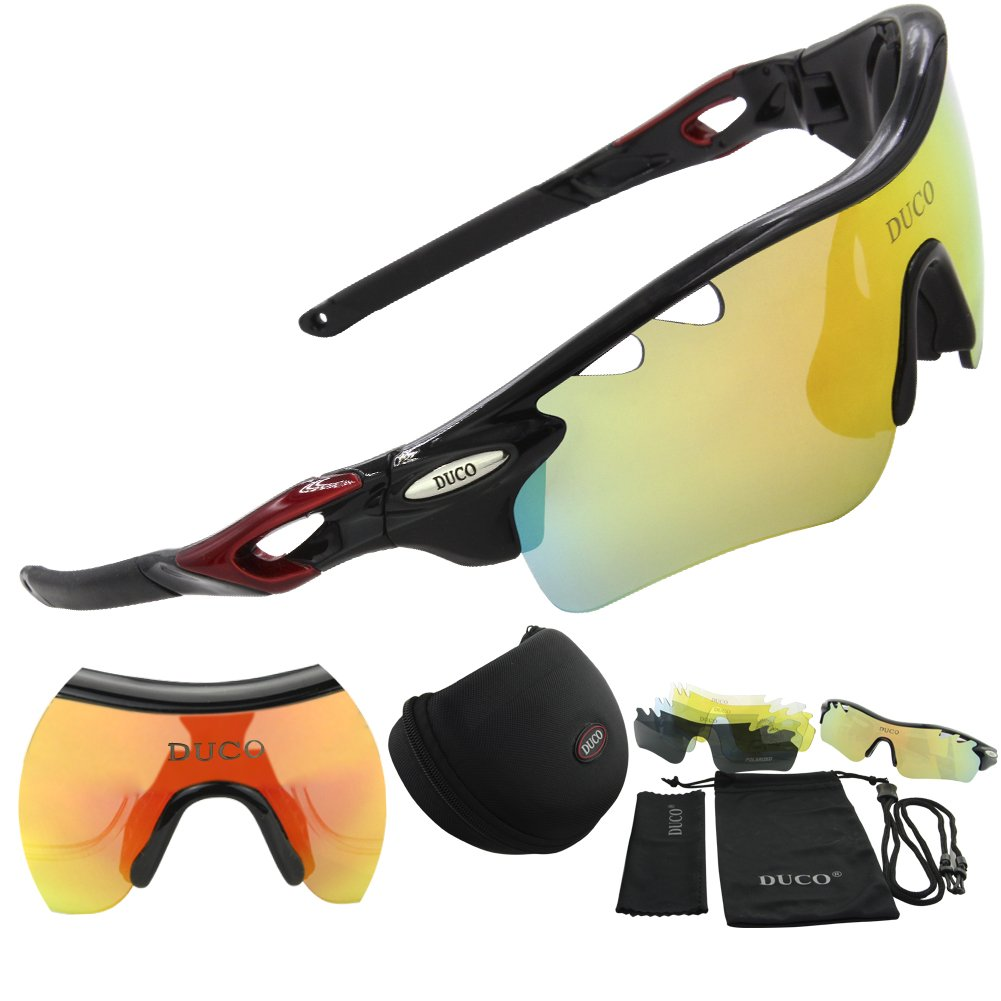 DUCO POLARIZED Sports Sunglasses UV400 Protection Cycling Glasses With 5 Interchangeable Lenses for Cycling, Baseball,Fishing, Ski Running ,Golf 0025 Black