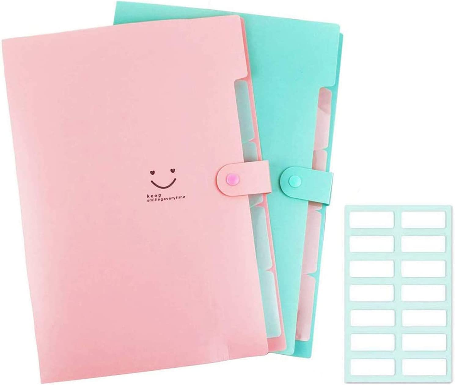 Expanding File Folder 5 Pockets Accordion Document Organizer, Plastic Expandable File Jackets for School and Office, A4 Letter Size 2 Pack (Pink+Green)