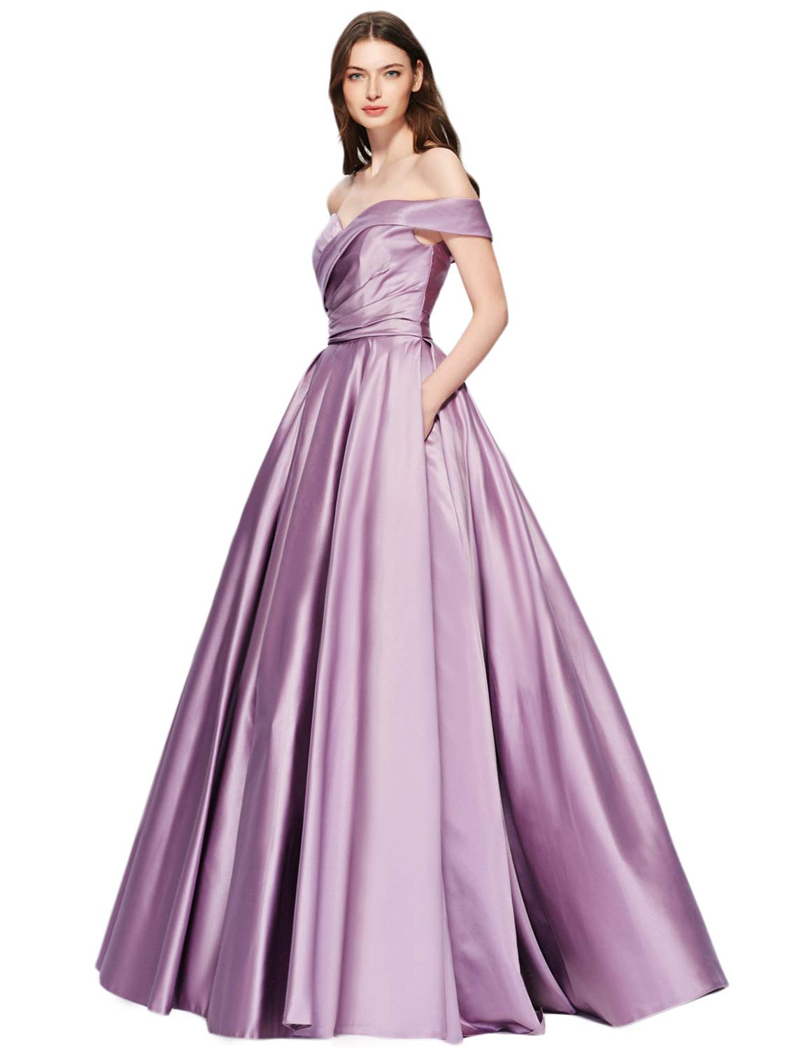 on sale online various kinds of official supplier PLMS Off Shoulder Prom Dress Pockets Satin Maxi Evening Gown Formal Lilac 16