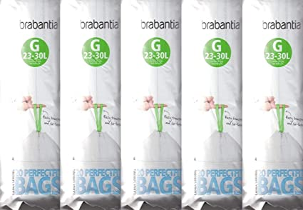 Bianco 23 // 30 L Brabantia PerfectFit Bags G Sacchetti per Spazzatura Dispenser da 40 Sacchetti