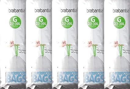 5 x Brabantia Pack de 20 extra fuerte ajuste perfecto G tamaño 23 – 30L bolsas biodegradables para residuos