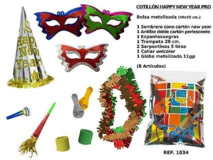 CAPRILO Lote de 10 Bolsas de Cotillones Decorativas Happy New Year Pro. Cotillón  para Fiestas 7c01e57d91b