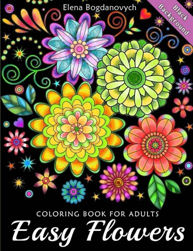 easy-flowers-coloring-book-for-adults-black-background
