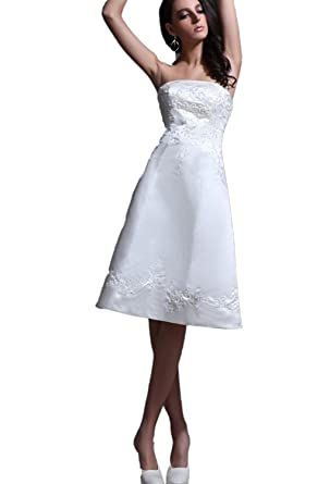 Angel Formal Dresses Strapless Lace Up Knee Length Satin Short Wedding Dresses(2,Ivory