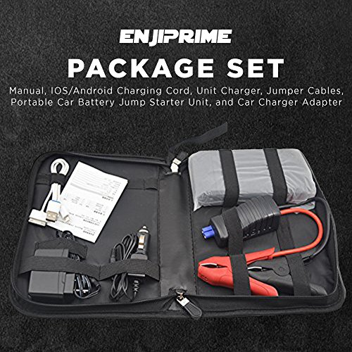 Portable Car Battery Jump Starter Pack - Charger with Jumper Cables, Emergency Kit for Engines Up to 3L Gas, Phone Power Bank, Smart Charging Port, LED Flashlight, Cargador de Bateria by Enji Prime (Image #1)