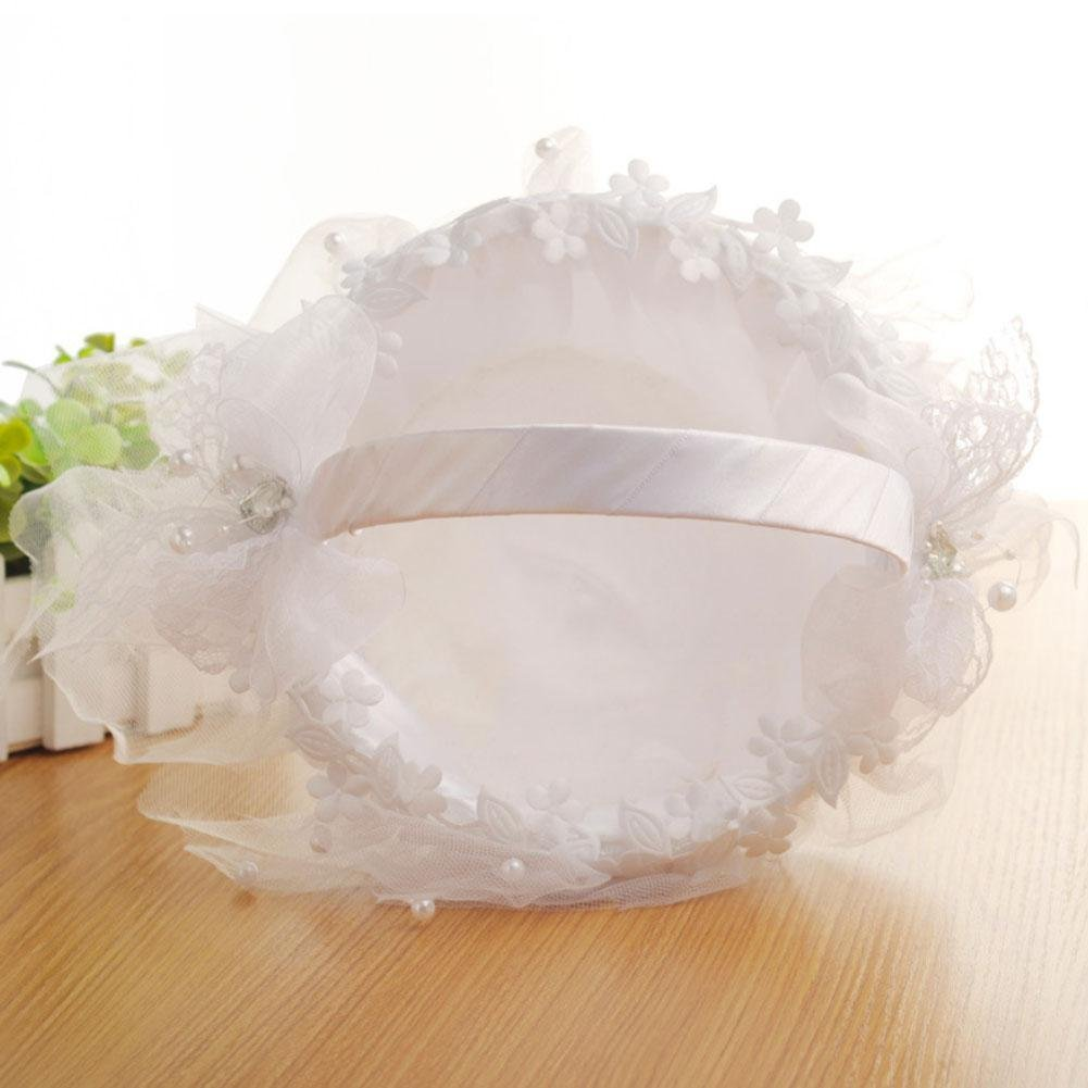 Taloyer Bride Hand Knit Ribbon Lace Flower Basket Delicate Wedding Supplies by Taloyer (Image #2)