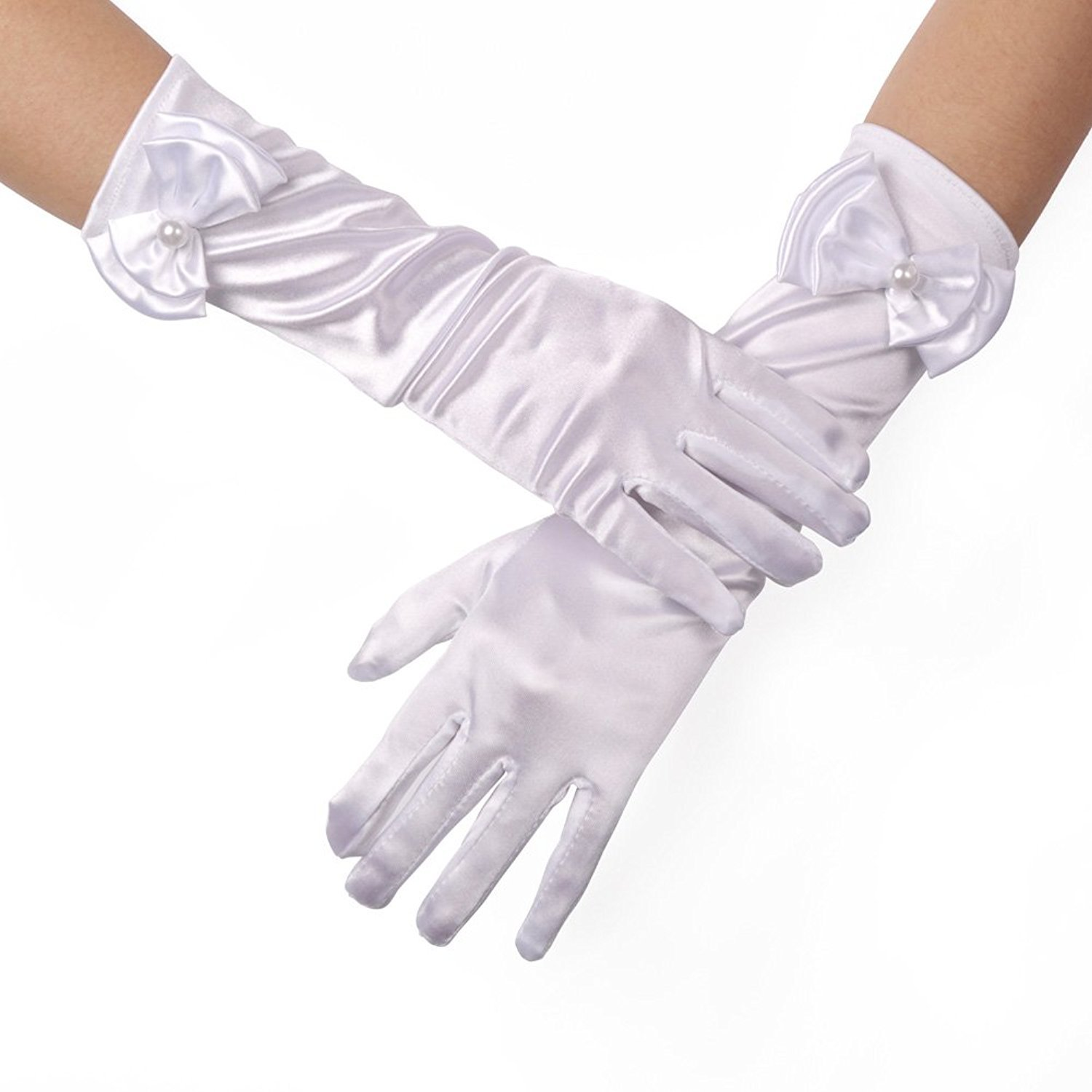Castle Fairy Girls Lace Faux Pearl Fishnet Gloves Communion Flower Girl Bride Party Ceremony Accessories (white)