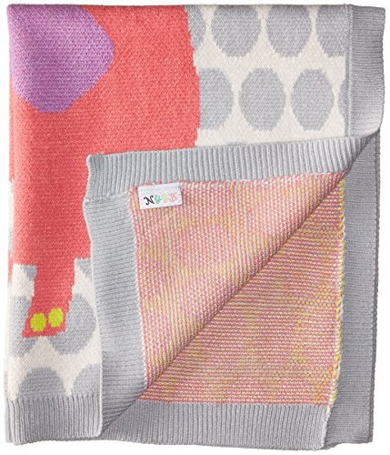 Infants Knit Blanket - TOBY Company Baby Nygb Safari Collection Elephant Blanket, Pink Coral, 30