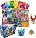 200 Pokemon Card Lot - 100 Pokemon Cards - Legendary GX Rare - Rares - Foils - 100 Pokemon Energy Cards! Pokemon Figure! Includes Golden Groundhog Storage Box!