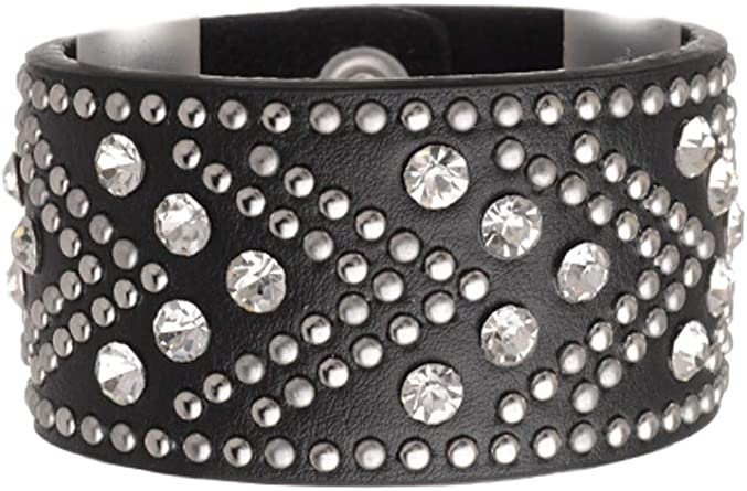 Bangles 2Rows RhinestonesLeather Box included
