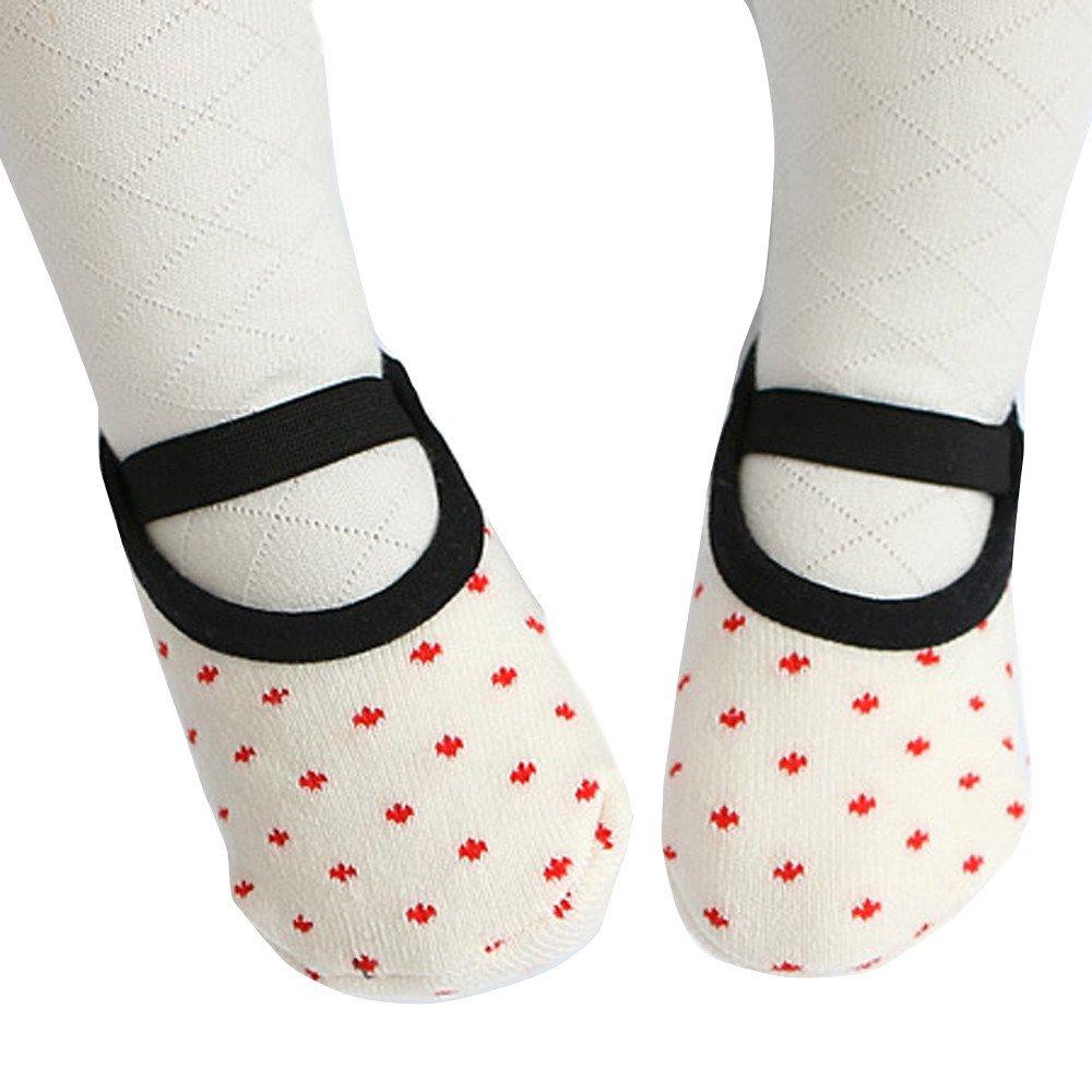 ❤️ Mealeaf ❤️ Baby Cotton Non-Slip Stockings Fashion Floor Socks Soft Socks (White,)