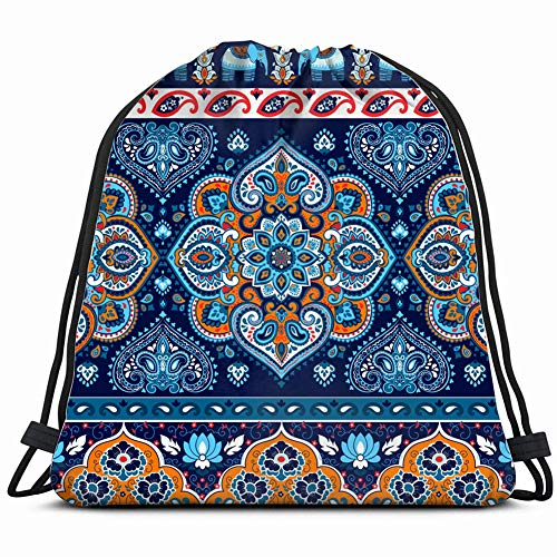 indian rug paisley ornament pattern ethnicmandala Drawstring Backpack Bag Gym sack Sport Beach Daypack for Girls Men & Women Teen Dance Bag Cycling Hiking Team Training 17X14 Inch