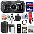 Ricoh WG-50 Waterproof/Shockproof Digital Camera (Carbon Grey) with 64GB Card + Battery & Charger + Case + Tripod + Floating Strap + Kit from RICOH