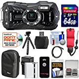 Ricoh WG-50 Waterproof/Shockproof Digital Camera (Carbon Grey) with 64GB Card + Battery & Charger + Case + Tripod + Floating Strap + Kit