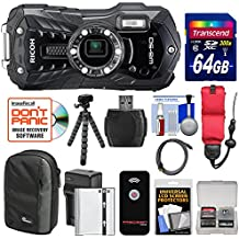 Ricoh WG-50 Waterproof / Shockproof Digital Camera (Carbon Grey) with 64GB Card + Battery & Charger + Case + Tripod + Floating Strap + Kit