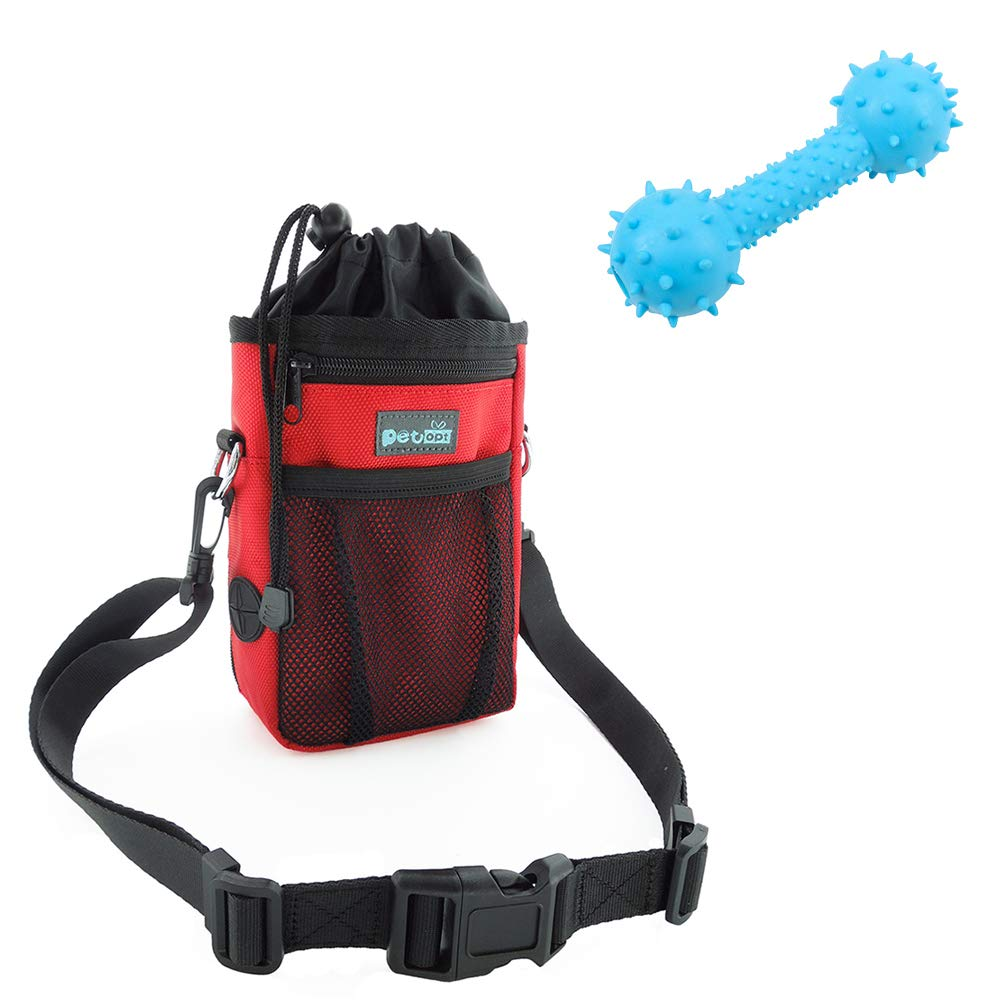 PETOPT Red Dog Treat Pouch with Adjustable Waist Belt&Shoulder Strap Pet Training Clicker with Chew Toy (Red) by PET OPT