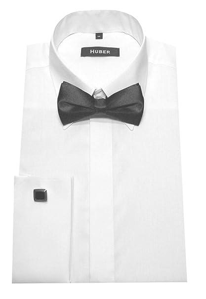 super popular 06c98 cd03a HUBER Herren Umschlag Manschetten Hemd weiß bügelleicht mit Fliege schwarz  HU-1011 Regular Fit